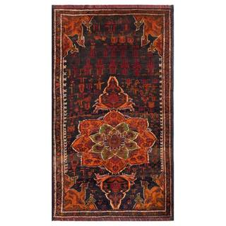 Herat Oriental Semi-antique Afghan Hand-knotted Tribal Balouchi Dark Grey/ Coral Wool Rug (3'6 x 6')