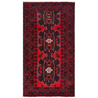 Herat Oriental Semi-antique Afghan Hand-knotted Tribal Balouchi Red/ Navy Wool Rug (3'5 x 6'2)