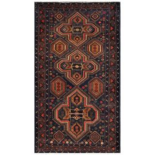 Herat Oriental Afghan Hand-knotted 1960s Semi-antique Tribal Balouchi Wool Rug (3'7 x 6'4)