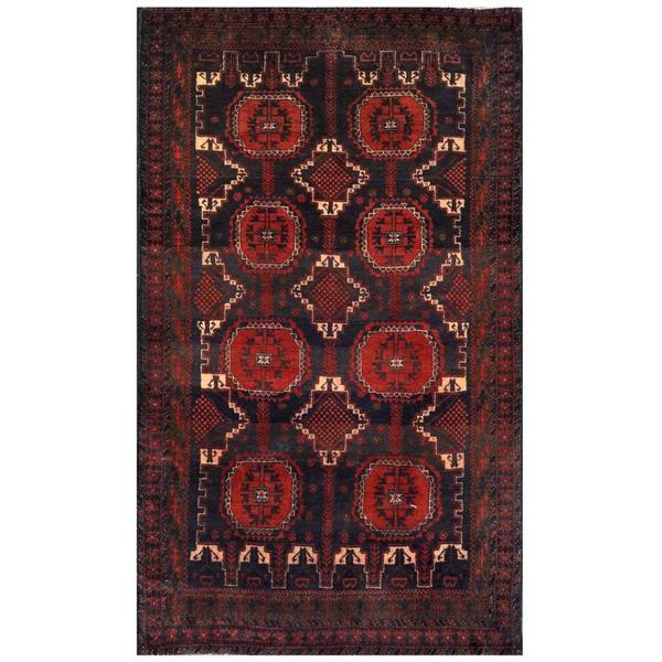 Herat Oriental Afghan Hand-knotted 1960s Semi-antique Tribal Balouchi Wool Rug (3'11 x 6'5) - 3'11 x 6'5