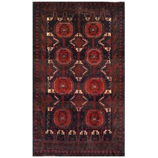 Herat Oriental Semi-antique Afghan Hand-knotted Tribal Balouchi Red/ Navy Wool Rug (3'11 x 6'5)