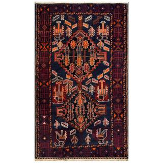 Herat Oriental Afghan Hand-knotted 1960s Semi-antique Tribal Balouchi Wool Rug (3'9 x 6'2)