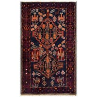 Herat Oriental Afghan Hand-knotted 1960s Semi-antique Tribal Balouchi Wool Rug (3'9 x 6'2) - 3'9 x 6'2