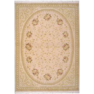 Herat Oriental Indo Hand-knotted Aubusson Beige/ Gold Wool Rug (8'7 x 11'9)