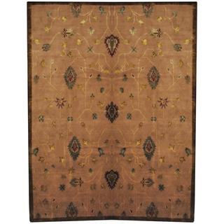 Herat Oriental Indo Hand-knotted Tibetan Light Brown/ Green Wool and Silk Rug (8'10 x 11'8)