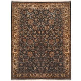 Herat Oriental Indo Hand-knotted Tabriz Turquoise/ Beige Wool Rug (9'4 x 12')