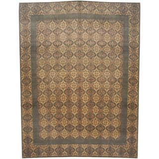 Herat Oriental Indo Hand-knotted Tibetan Beige/ Olive Wool and Silk Rug (9'5 x 12')