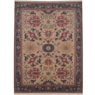 Herat Oriental Indo Hand-knotted Tibetan Beige/ Lavender Wool Rug (8'10 x 12')
