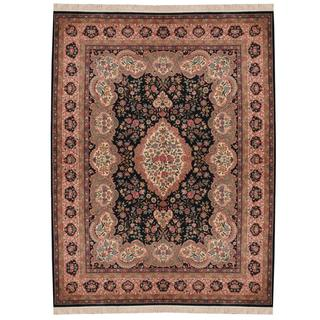 Herat Oriental Indo Hand-knotted Tabriz Forest Wool and Silk Rug (9'1 x 12'2) - 9'1 x 12'2