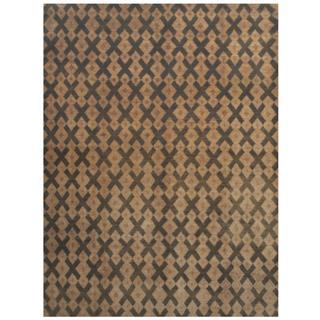 Herat Oriental Indo Hand-knotted Tibetan Olive/ Beige Wool Rug (8'11 x 12')