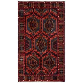 Herat Oriental Afghan Hand-knotted 1960s Semi-antique Tribal Balouchi Wool Rug (3'8 x 6'4)