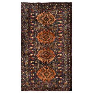 Herat Oriental Semi-antique Afghan Hand-knotted Tribal Balouchi Coral/ Navy Wool Rug (3'6 x 6')