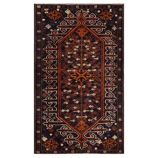 Herat Oriental Afghan Hand-knotted 1950s Semi-antique Tribal Balouchi Wool Rug (3'11 x 6'5)