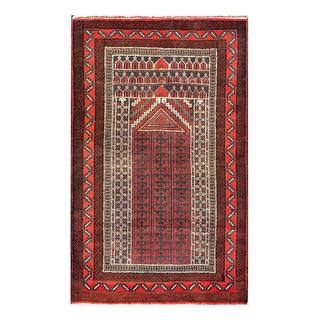 Herat Oriental Semi-antique Afghan Hand-knotted Tribal Balouchi Salmon/ Ivory Wool Rug (3' x 4'9)