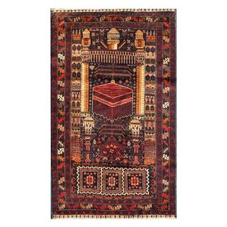 Herat Oriental Afghan Hand-knotted 1960s Semi-antique Tribal Balouchi Wool Rug (2'6 x 4'5)