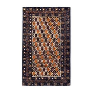 Herat Oriental Afghan Hand-knotted 1960s Semi-antique Tribal Balouchi Wool Rug (2'7 x 4'2)