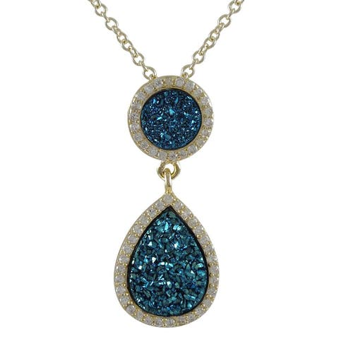 Luxiro Sterling Silver Druzy Quartz and White Cubic Zirconia Graduated Teardrop Necklace