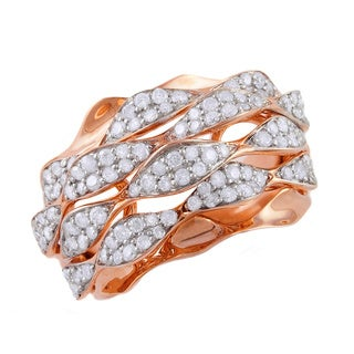 Beverly Hills Charm 14k Rose Gold 1ct TDW Multi-row Diamond Ripple Ring