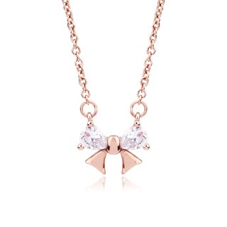Blue Box Jewels Rose Goldplated Sterling Silver Mini Ribbon Cubic Zirconia Pendant Necklace
