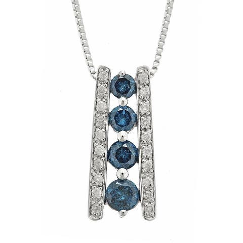 Anika and August .925 Sterling Silver 5/8ct TDW Blue and White Diamond Pendant Necklace