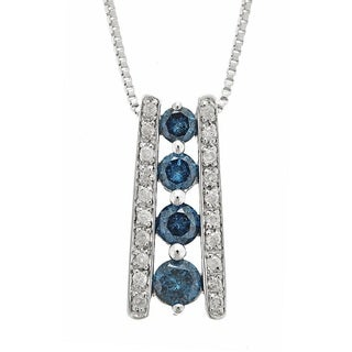 Anika and August .925 Sterling Silver 5/8ct TDW Blue and White Diamond Pendant Necklace (G-H, I1-I2)