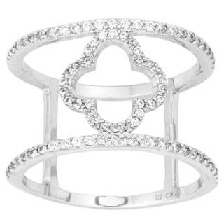 La Preciosa Sterling Silver Cubic Zirconia Clover Wide Ring