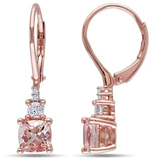 Miadora Rose Plated Silver Morganite Created White Sapphire And Diamond Accent Earrings