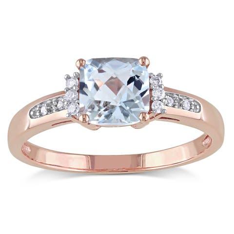 Miadora 10k Rose Gold Aquamarine and Diamond Accent Cocktail Ring