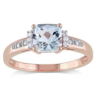 miadora 10k rose gold aquamarine and diamond accent cocktail ring - Aquamarine Wedding Ring