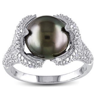 Miadora Sterling Silver Tahitian Black Pearl and 1/10ct TDW Diamond Ring (H-I, I2-I3) (10-10.5 mm)