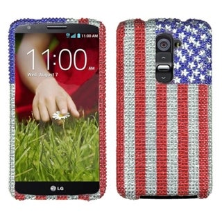 INSTEN United States National Flag Diamante Bling Hard Plastic Phone Case Cover for LG G2