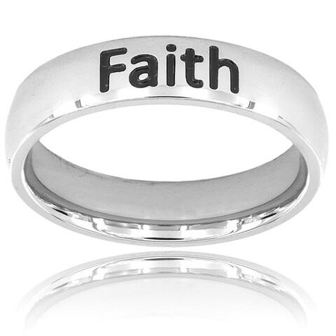 ELYA Stainless Steel Inspirational 'Faith' Ring