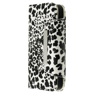 INSTEN Black White Cheetah Card Wallet Horizontal Pouch for Apple iPhone 5/ 5S/ SE