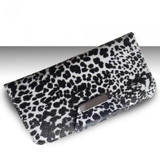 INSTEN Black White Cheetah Card Wallet Horizontal Pouch for Apple iPhone 4/ 4S