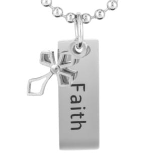 Stainless Steel 'Faith' with Cross Charm Pendant