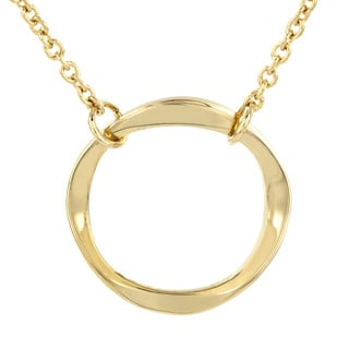 Stainless Steel Twisted Open Circle Pendant Necklace