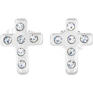 Stainless Steel Cubic Zirconia Cross Stud Earrings