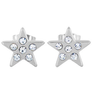 Stainless Steel Cubic Zirconia Star Stud Earrings
