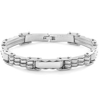 Crucible Stainless Steel Textured Link Bracelet
