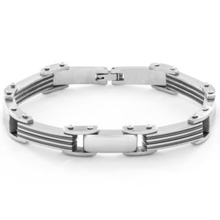 Men's Stainless Steel Polished and Gun-metal Accent Link Bracelet