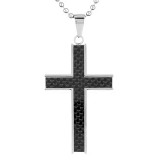 Stainless Steel Men's Inlayed Black Carbon Fiber Cross Pendant Necklace