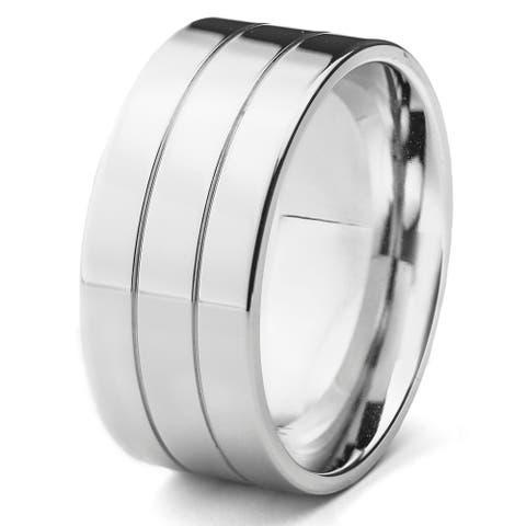 Stainless Steel Men's High Polish Double Grooved Ring - White