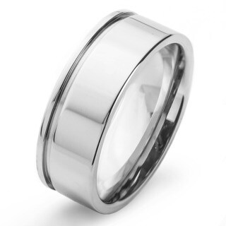 Stainless Steel Men's High Polish Grooved Edge Ring