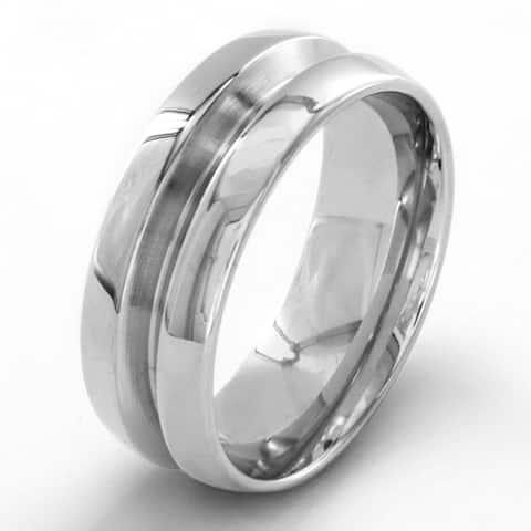 Stainless Steel Men's High Polish Beveled Groove Ring - White