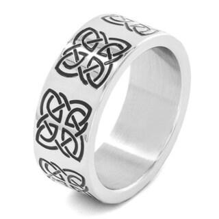Stainless Steel Men's Engraved Celtic Symbol Ring