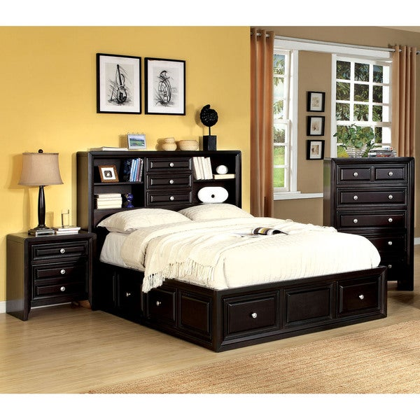 furniture of america espresso 3 piece bookcase style bedroom set