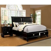 Furniture of America Modern 2-Piece Platform Bed with Nightstand Set