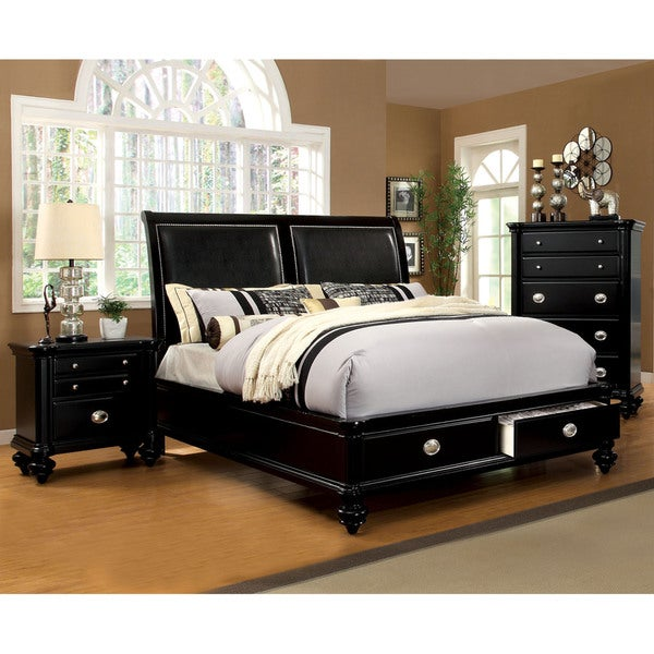 Shop Modern Black 3-piece Platform Bedroom Set - Free Shipping Today ...