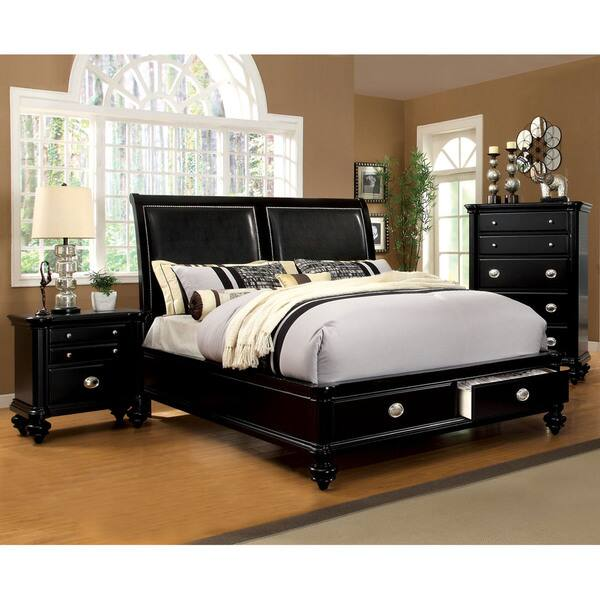 Furniture of America Teb Modern Black 3-piece Bedroom Set