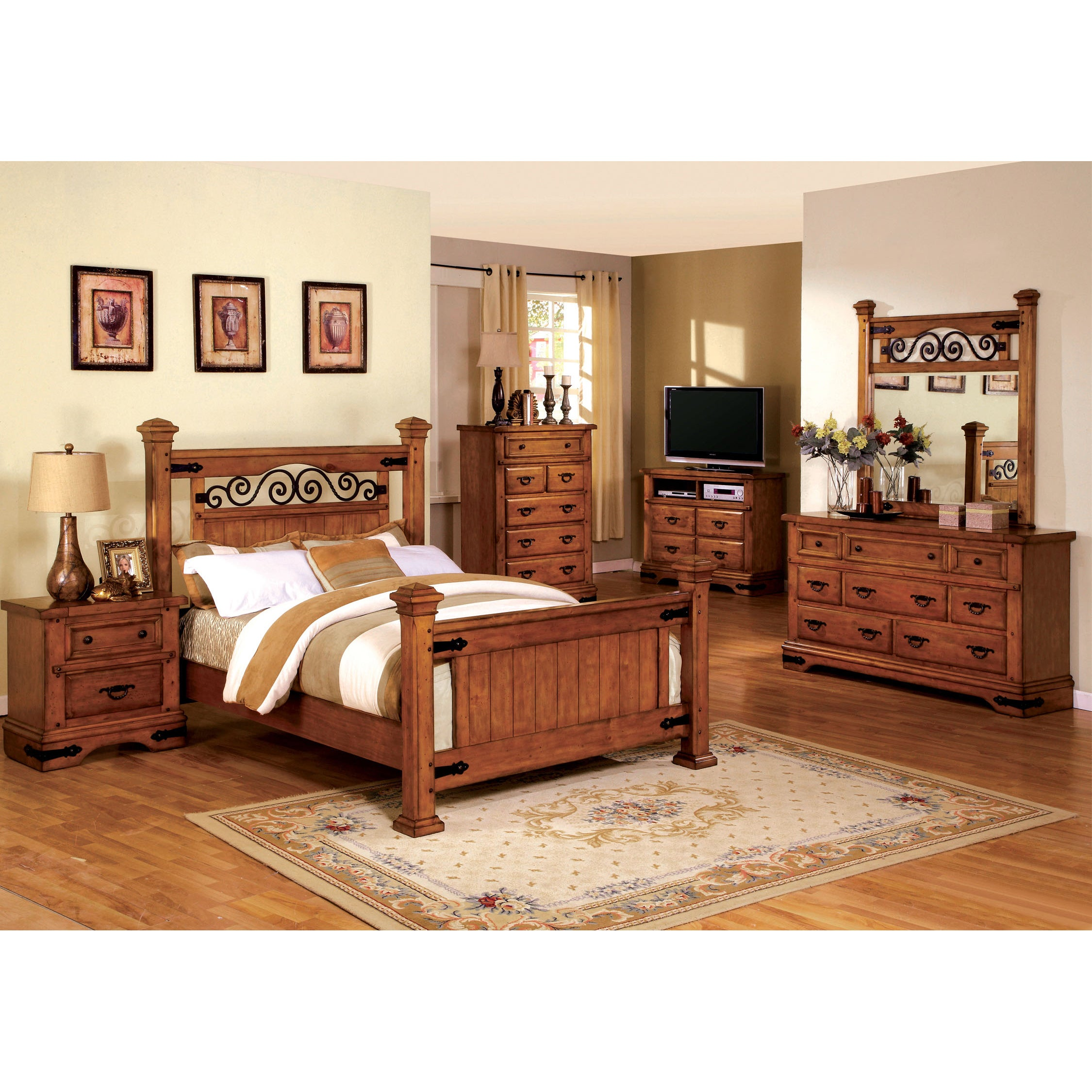 Furniture of America 4-piece Country Style American Oak Bedroom Set